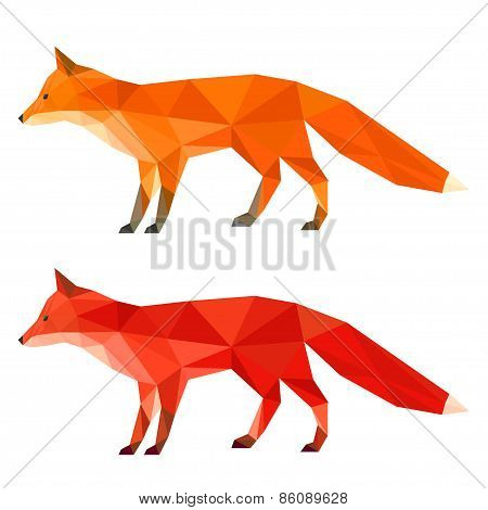 Abstract Polygonal Geometric Triangle Fox Set  Isolated On White Background