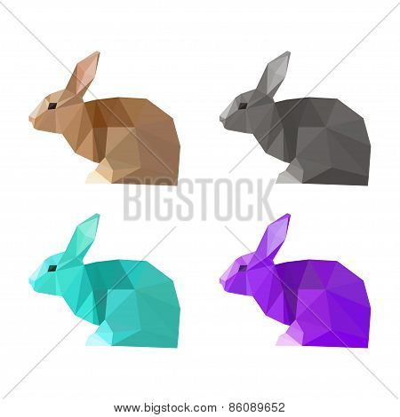 Abstract Polygonal Triangle Geometric Rabbit Set Isolated On White Background