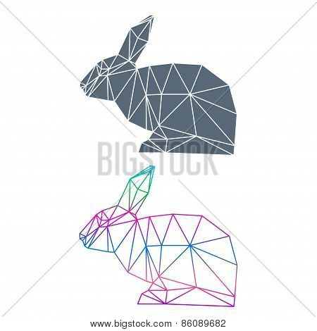 Abstract Geometric Rabbit Set Isolated On White Background