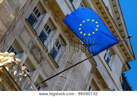 Flag Of The European Union At The Budapest City Hall