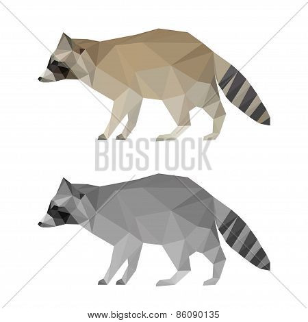 Abstract Polygonal Geometric Triangle Raccoon Set Isolated On White Background