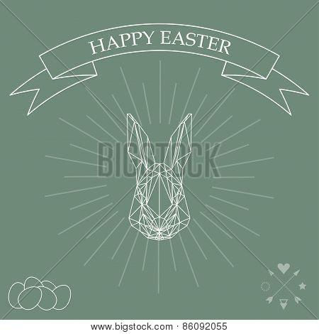 Simple Graphic Illustration With Abstract Geometric Rabbit And Rays