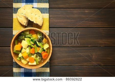 Vegetable Soup with Zucchini, Green Bean, Carrot, Broccoli, Potato and Pumpkin