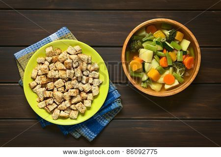 Homemade Croutons and Vegetable Soup