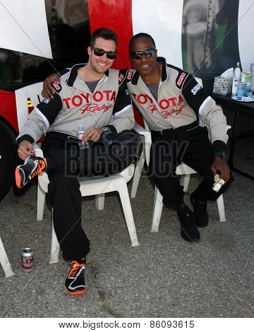LOS ANGELES - FEB 21:  James Maslow, Willie Gault at the Grand Prix of Long Beach Pro/Celebrity Race Training at the Willow Springs International Raceway on March 21, 2015 in Rosamond, CA