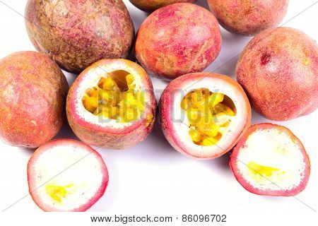 Passion Fruits On White Background