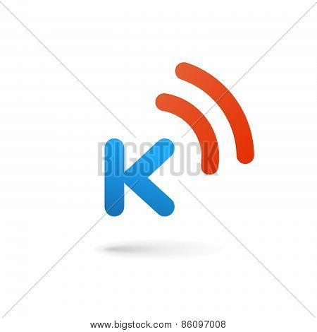 Letter K Wireless Logo Icon Design Template Elements