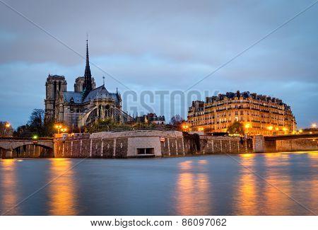 Paris, Seine And Notre Dame (blue Hour)