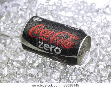 Kuala Lumpur-Malaysia : March 24,2015 Photo of a can of Coca-Cola Zero. The brand is one of the most popular soda products in the world and it is sold almost everywhere