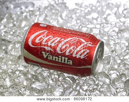 Kuala Lumpur-Malaysia : March 24,2015 Photo of a can of Coca-Cola Vanilla . The brand is one of the most popular soda products in the world and it is sold almost everywhere