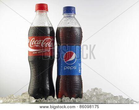 Kuala Lumpur-Malaysia march23,2015: Photo of a Coca-Cola and Pepsi 500 ml cans. Coca-cola and Pepsi are among the most popular carbonated drinks in the world