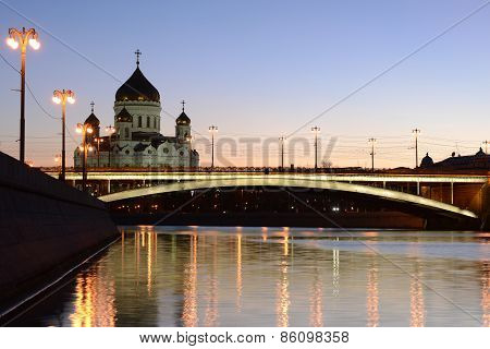 Evening View Of Orthodox Church Of Christ The Savior And Big Stone Bridge.
