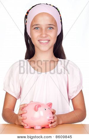 Little Girl With With Piggy-bank