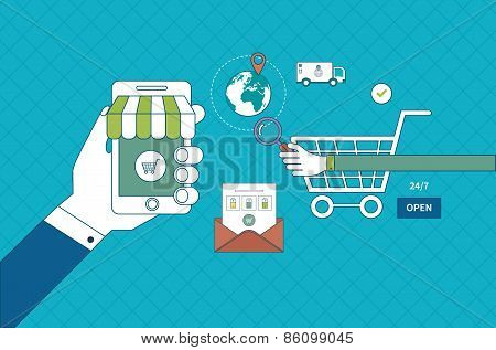 Flat design modern vector illustration icons set of online shopping, pay per click and mobile market
