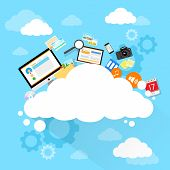 picture of computer  - Cloud computing technology device set internet data information storage flat design vector illustration - JPG