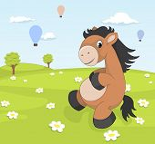 stock photo of pony  - Spring landscape with cartoon pony on blooming meadow - JPG