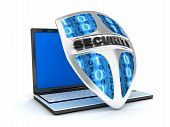 stock photo of antivirus  - Shield antivirus and laptop abstract  - JPG