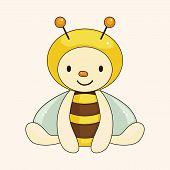 pic of bee cartoon  - Bee Cartoon Theme Elements - JPG