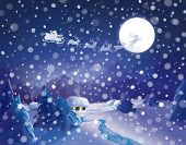 stock photo of santa sleigh  - Santa Claus Sleigh on sky background - JPG