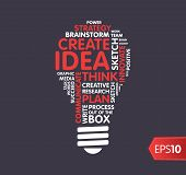 stock photo of lightbulb  - Lightbulb word cloud of creative words like Idea - JPG