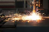 image of plating  - Industrial cnc plasma cutting of metal plate - JPG