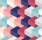 image of three-dimensional  - Random color three dimensional cubes seamless pattern - JPG