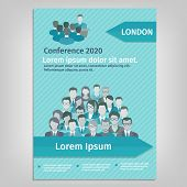 picture of avatar  - Conference paper leaflet brochure with business people team avatars vector illustration - JPG
