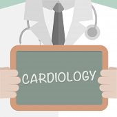 picture of cardiology  - minimalistic illustration of a doctor holding a blackboard with Cardiology text - JPG