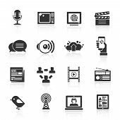 image of blog icon  - Media icons black set with microphone tv computer film isolated vector illustration - JPG