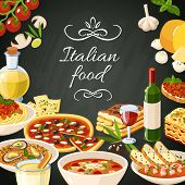 picture of italian food  - Italian restaurant food background with olives pasta garlic spaghetti pizza vector illustration - JPG