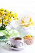 picture of continental food  - continental breakfast with cake and fruit tea - JPG