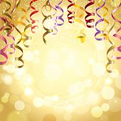 stock photo of  realistic  - Celebration golden color background with realistic festive streamers vector illustration - JPG