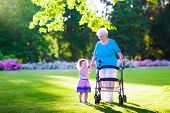 picture of grandmother  - Happy senior lady with a walker or wheel chair and a little toddler girl grandmother and granddaughter enjoying a walk in the park - JPG