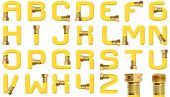 pic of spigot  - Yellow all capital alphabet created with high resolution photograph of yellow garden hose wall spigot attachment over white - JPG