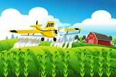 stock photo of pesticide  - A vector illustration of crop duster flying over a field spraying pesticide - JPG