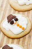 picture of snowmen  - holiday cookies with a melted snowman for a fun seasonal concept - JPG