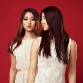 picture of white gown  - Two beautiful fashionable woman in white gowns against red background - JPG