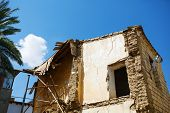 picture of abandoned house  - Ruined abandoned brick house - JPG