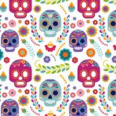 stock photo of day dead skull  - Mexico pattern with skull - JPG