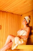 image of sauna woman  - Spa beauty treatment and relaxation concept - JPG