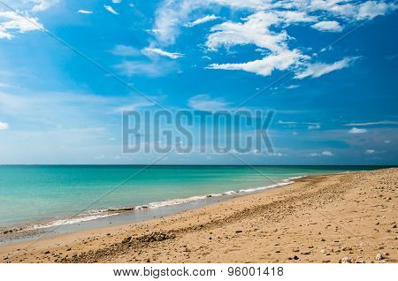 Tropical Sand Beach And Blue Sky