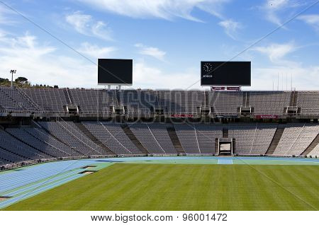 BARCELONA SPAIN - MAY 10: Board above empty tribunes on Barcelona Olympic Stadium on May 10 2010 in