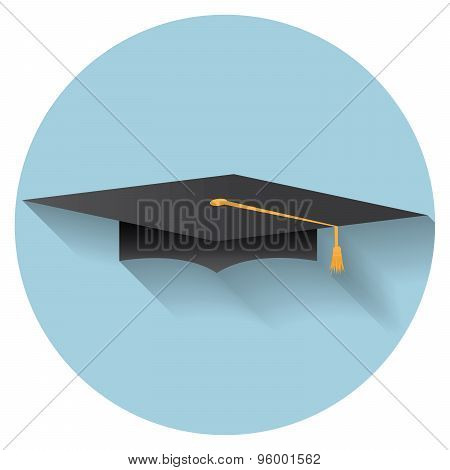 Flat Design Modern Vector Illustration Of Graduation Cap Icon