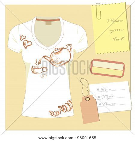 White T-shirt Design, With A Label, A Place For An Inscription.