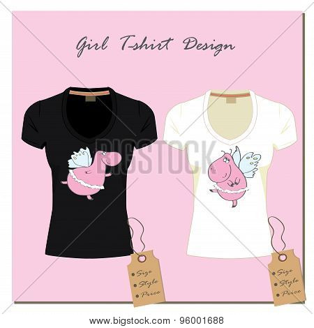 White And Black Design Girl's T-shirts, With The Label, Vector.