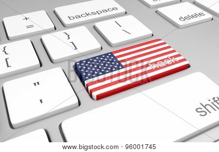 United States hacking concept of a computer keyboard and a key painted with the American flag