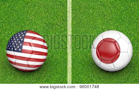 Team balls for a United States vs Japan soccer tournament match