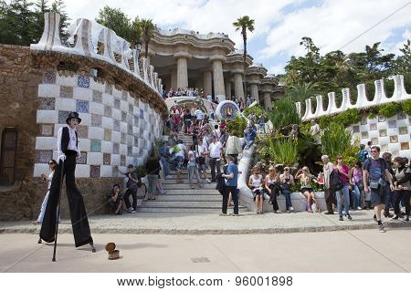BARCELONA SPAIN - 10 MAY 2010: Crowds of tourists in entrance to the Park Guell 10 May 2010 in Barce