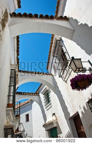 White Andalusia style street in Poble Espanyol, Barcelona