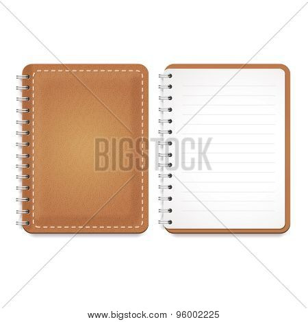 Illustration of a leather notebook with spiral, notepad with blank lined paper. Vector  Template iso